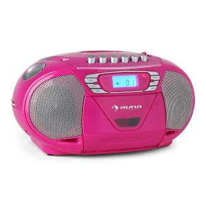 KrissKross Lecteur CD-K7 portable USB MP3 CD FM -rose Rose