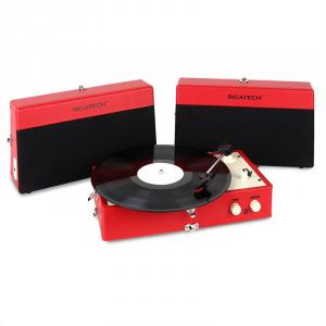 RT80 Vintage Record Player Red AUX