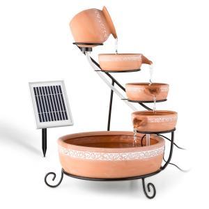 Empoli fontanna kaskadowa terakota 5 poziomów 200 l/godz. 2-watowy solar LED