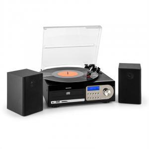 Audiola TT38 Stereoanlage LP CD USB SD AUX MP3 UKW Schwarz