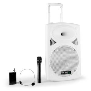 "Port12VHF-BT DJ 12"" PA Sound System USB SD AUX MP3 Bluetooth White 