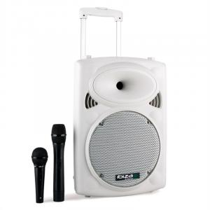 "Port10VHF-BT Portable PA Speaker Box Trolley USB SD MP3 500W White White | 25 cm (10"")"