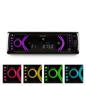 MD-130 Radio de coche Bluetooth SD USB AUX RDS 7 Negro