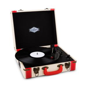 Jerry Lee Gramofon w stylu retro LP USB biały Biały
