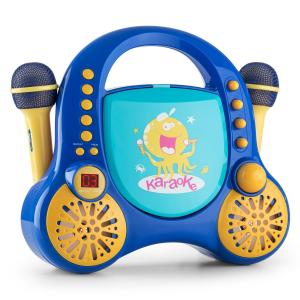 Rockpocket Kids Karaoke System CD AUX 2 x Microphone Sticker Set Blue Blue