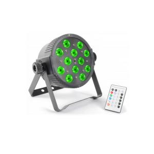 FlatPAR 12x 3W Tri-color LED DMX IR incl. afstandsbediening