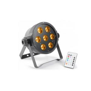 FlatPAR 7x 15W 5-in-1 Colori RGBAW-LED DMX IR incl. Microfono