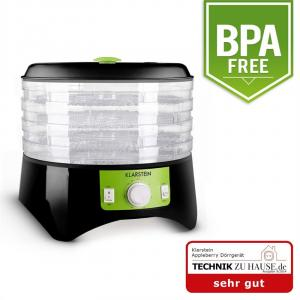 Appleberry torkenhet 400W torkare dehydrator 4 våningar svart-grön Svart