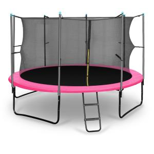 Rocketgirl studsmatta 366cm säkerhetsnät på insidan, bred stege, rosa Rosa | 366 cm