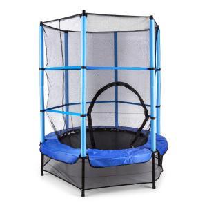 Rocketkid trampoliini 140 cm turvaverkko sisäpuolella, bungeejousitus, sininen sininen