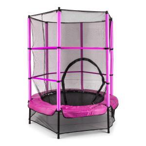Rocketkid trampoliini 140 cm turvaverkko sisäpuolella, bungeejousitus pinkki pinkki