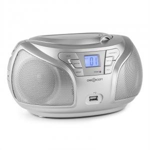 Groovie SL WH Boombox Bluetooth CD UKW AUX MP3 argent Argent