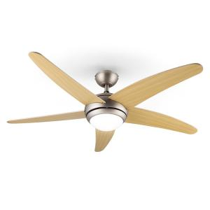 Bolero Ceiling Fan Light 134cm 55W Maple Blades Remote Control Maple