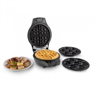 Trinity Mini buñuelos molde para gofres máquina de donuts 1000W negro Negro
