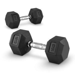 Hexbell Lot de 2 haltères courts Dumbbell 15kg 2x 15 kg