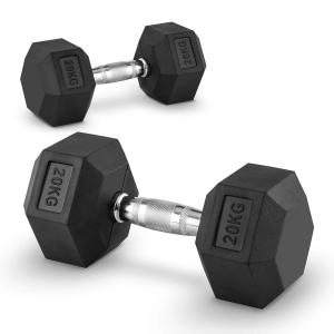 Hexbell Lot de 2 haltères courts Dumbbell 20kg 2x 20 kg