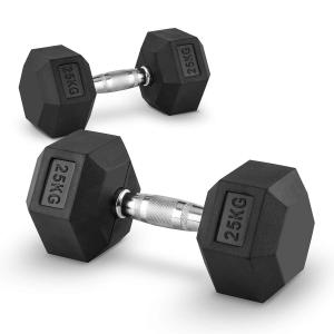 Hexbell Lot de 2 haltères courts Dumbbell 25kg 2x 25 kg