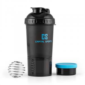 Shakester Protein Shaker 600ml Mixing Ball Powder Box Black