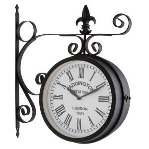 Paddington Reloj de jardín, pared o estación Ø23cm Vintage Acero Negro