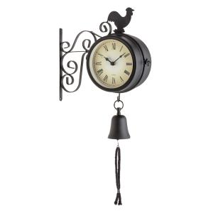 Early Bird Vintage Steel Garden Wall Clock and Thermometer with Bell Black
