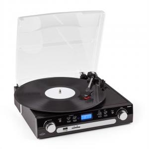 Retro-05 Turntable Gira-Discos Aparelhagem Rádio AM/FM USB SD/MC AUX Cassete Áudio Retro