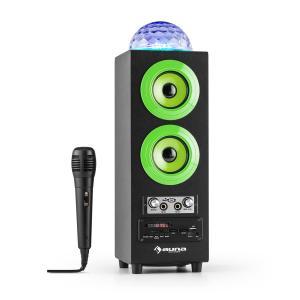 DiscoStar Green kannettava 2.1-bluetooth-kaiutin USB SD akku LED mikrofoni vihreä
