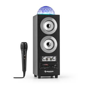 DiscoStar Silver Enceinte portable Bluetooth 2.1 USB SD UKW AUX LED -argent Argent