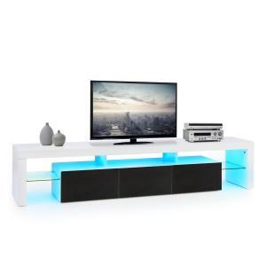 Orlando Mueble para TV con barra de luces led de ambiente, cambio de color, mando a distancia Negro