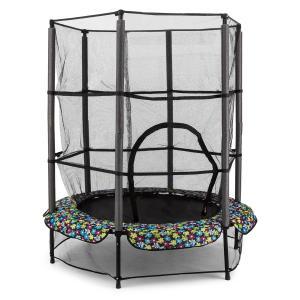 Rocketkid 5 trampoliini 140 cm turvaverkko benjiköysijousitus kukkakuvio