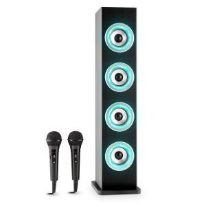 Karaboom LED Altifalante Bluetooth USB AUX VHF 2x Microfone Karaoke Preto