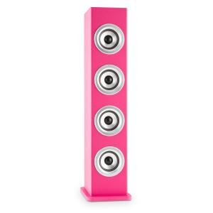 Karaboom PK LED Bluetooth Speaker USB AUX Karaoke 2 x Microphone Pink