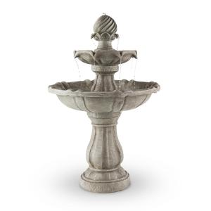 Bird Bath Garden Fountain Solar Powered Concrete Stone Look60x90cm 3W