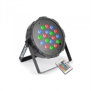 FlatPAR 18 x 1W holofote LED RGB DMX IR com controlo remoto incluido