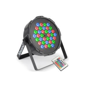 FlatPAR 36x1w Riflettore PAR RGB LED DMX IR incl. Telecomando