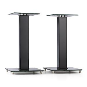BS-03S-BK Speaker Stands Pair Aluminium Glass MDF Cable Duct incl. Spikes Black