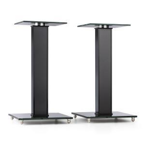 BS-03S-BK set van 2 luidsprekerstandaards aluminium glas MDF kabelkanaal spikes Zwart