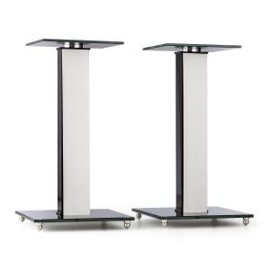 BS-03S-WHOA Speaker Stands Pair Aluminium Glass MDF Cable Duct incl. Spikes Oak veneer Oak