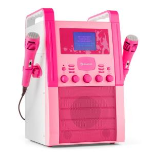 KA8P-V2 PK Karaoke AUX e CD com 2x microfones cor de rosa