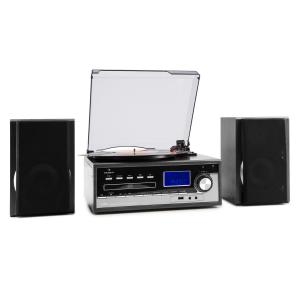 Blackwood Stereo System Record Player USB MP3 Encoding CD Cassette FM AUX Black