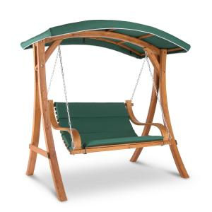 Tahiti Swing Chair Rocking Bench 110 cm 2-Seater Awning Polyester Larch Green
