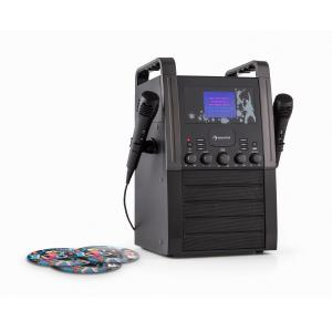 KA8B-V2 BK Karaoke Machine CD Player with Microphones and 2 CDs Black