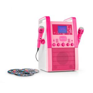 KA8B-V2 BK Karaoke Machine CD Player with Microphones and 2 CDs Pink