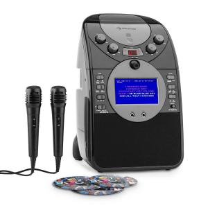 ScreenStar Impianto Karaoke Fotocamera CD USB 2 x Microfoni nero | Con CD Set