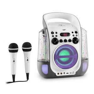 Kara Liquida Impianto Karaoke CD USB MP3 Getto D'Acqua LED 2 x Microfoni Portatile grigio