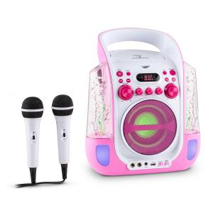 Kara Liquida Karaoke System CD USB MP3 Waterjet LED 2x Microphone Pink