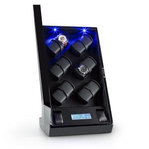 Klingenthal Uhrenbeweger Rechts-Links-Lauf 12 Uhren LED Touch schwarz Schwarz