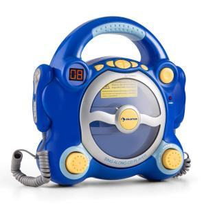 Pocket Rocket Karaoke Machine CD Player Sing-A-Long with 2 Microphones Blue Blue