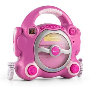 Pocket Rocket Karaoke Machine CD Player Sing-A-Long with 2 Microphones Pink Pink