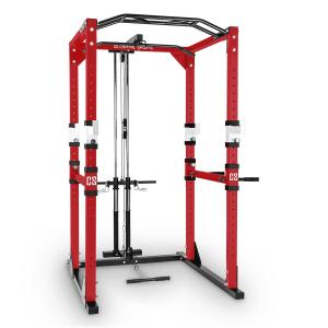 Tremdour PL Power Rack Home Gym Lat Pull Steel Red White Red