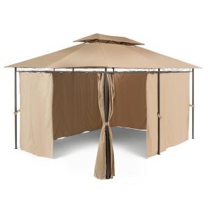 Grandezza Gartenpavillon Partyzelt 3x4m Stahl Polyester braun Braun